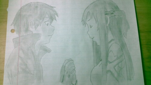 Asuna and Kirito from the new episode. Man that was a good one.