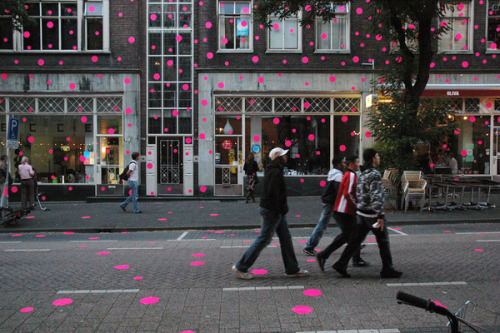 Street filled with pink dots
