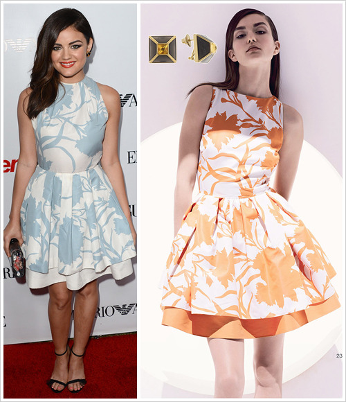 Lucy Hale attended Teen Vogue's 10th Anniversary Young Hollywood Party on Thursday in Beverly Hills wearing a Christian Dior Resort 2013 dress, Christian Dior heels, Isharya Black Frost Pyramid Luxe Stud Earrings, Dana Rebecca Designs rings and an Edie Parker 'Lara' clutch from the Classics collection.