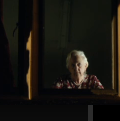 could this be an older Amy staring through the window?  River says to Amy 'never let him see you age' so maybe the Amy in the picture was with Rory in the room, but she knows that the Doctor is going to come into the room so leaves so he won't see her, but really she is there hiding, and this is why the old Rory is shocked too see (the young) Amy, because he has been with (the old) Amy for many years and forgot that (the young) Amy see's him OR in the picture, Rory is already dead and she is just living on her own, because on the gravestone it said Rory 82 and Amy 87, so she lived 5 years more then he did (they where in the same year at school, therefore they must be the same age)
