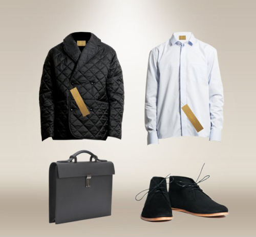 Outerwear: Szymon Zürn Shirt: Szymon Zürn Briefcase: Bruno Pieter Shoes: Opening Ceremony