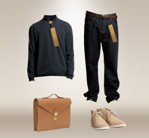 Sweater: Szymon Zürn Denim: Szymon Zürn Briefcase: Bruno Pieter Shoes: Opening Ceremony