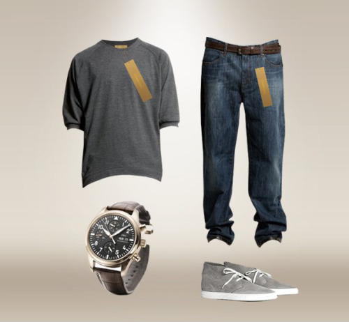 T-shirt: Szymon Zürn Denim: Szymon Zürn Wrist Watch: IWC Shoes: Common Projects