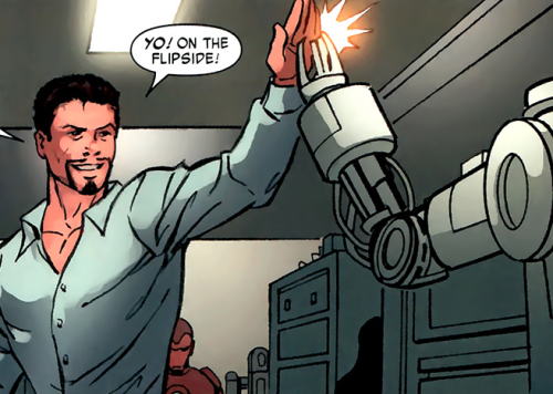 scratch-the-maven:  naruho-uzumunchies:  tonystarque:  Here's a panel of Tony giving Dummy a high five You're welcome  Look at the suit in the background like 'that should be me'   Tony, your suits of armor need therapists because…      …they, like you, have some serious issues.