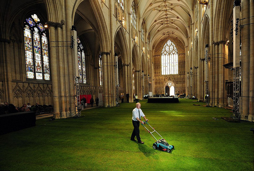cjwho: The Green Cathedral UK turf company Lindum has covered the entirety of the nave belonging to York minster with a layer of real grass, transforming the gothic structure's nave into a green expanse of interior space.
