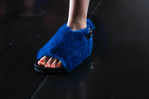 Phoebe Philo is probably on crack when she designed the footwear this SS13 season. Fuck the other fur ones, this is the only one I liked.