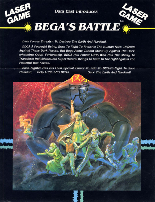 A flyer for Bega's Battle, a laserdisc arcade shooter by Data East.