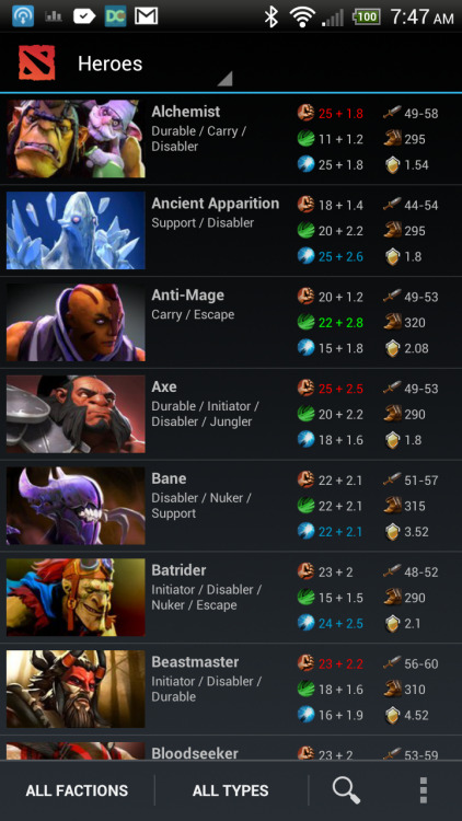 Preview of the new list view for heroes.