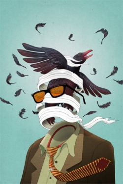 thekhooll:  Ruffled Feathers Michael Wandelmaier is an illustrator and graphic designer who currently lives and works in Toronto, Canada. Though formally trained as a civil engineer and geologist, Michael has chosen to pursue a career in the arts. He uses both traditional and digital media in his work.