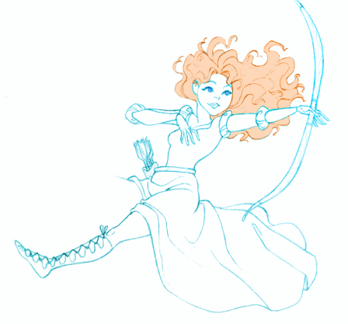 I'm back! With a little doodle of Merida :) I wanna let my hair flow in the wind as I ride through the glen firing arrows into the sunset, too….But I have a job (T^T)