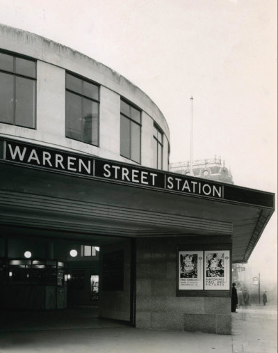 Warren Street Station, London. At the intersection of Tottenham Court Road and Euston Roads. On the Charing Cross branch of the Northern Line, between Goodge Street and Euston, and the Victoria Line between Oxford Circus and Euston. Photo possible 1930s or 40s.