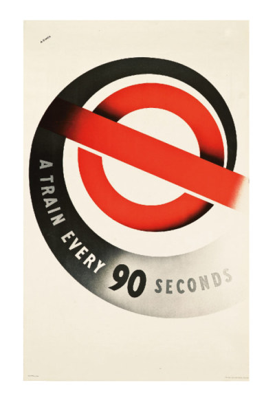 Abram Games' A Train Every 90 Seconds, lithograph in colours, 1937, printed by Waterlow & Sons Ltd., London