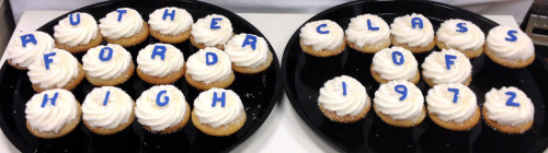 Say it with cupcakes!These cupcakes were created for the Rutherford High School Class of 1972's 40th reunion!