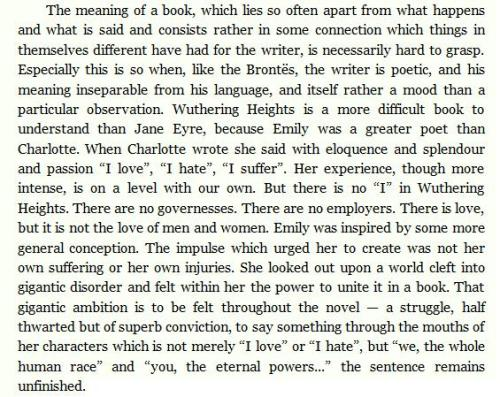 "Virginia Woolf's review on Emily Brontë's ""Wuthering Heights""."