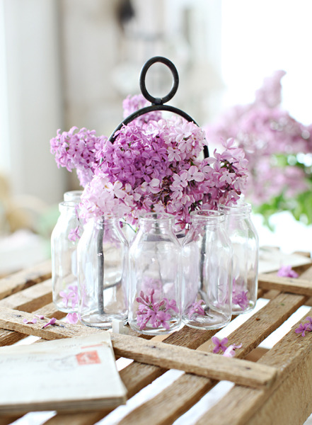 bridalsnob:  Lavender centerpiece idea  (that's definitely lilacs)