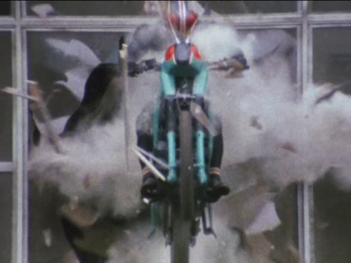 "vintagehenshin:    Some may ask, ""Why did Black drive his bike through the window?"" This is a silly thing to ask. The proper question is, ""Why didn't that window know better to get out of his way?""  [source]"