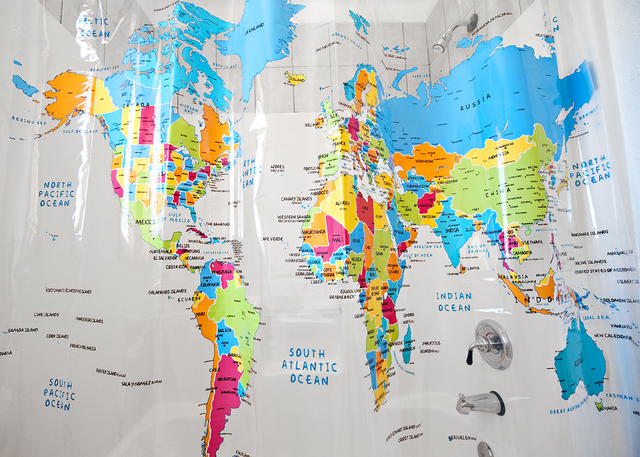 (via World Map Shower Curtain)