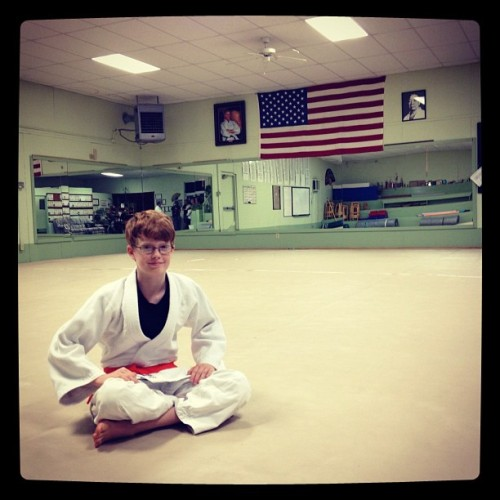 Morgan at RJA after his orange belt promotion   (Taken with Instagram)