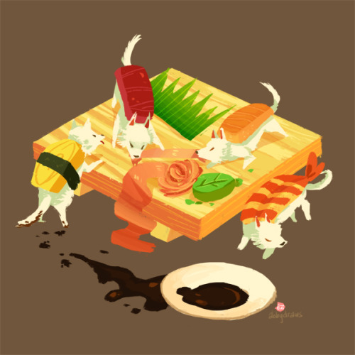 "abbydraws:  dailysushi:  Guest Artist: ""Sushi Dogs"" by Abigail L. Dela Cruz For more of  Abby's work, you can visit her Tumblr  my contribution to dailysushi! very much inspired ""Maki"" our dog who pretty much likes to bite and destroy anything she can put in her mouth"