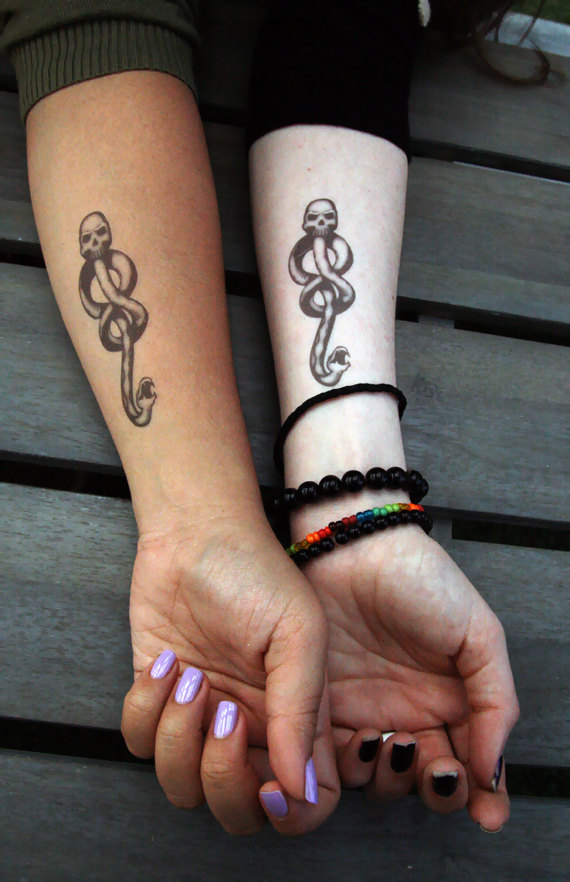 Temporary Dark Mark Tattoos Become a Death Eater, without the commitment. Sold on Etsy.