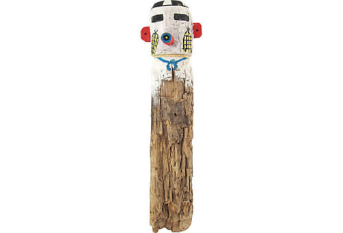 Traditional kachina doll carved from a cottonwood root. Sold on the historic Route 66 in the 1940's-'50s. Original suede leather cord for hanging on the wall, as these were not meant to touch the ground. Sold! Check out the other great items Ruby + George is offering at 30-70% discount on One Kings Lane Vintage & Market Finds!