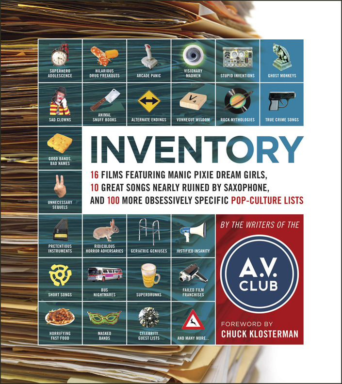 Inventory by A.V. Club  Sometimes, I don't want to read a book with a plot. Instead, I'm just in the mood to read about 10 American televisions shows that had satisfying endings. Or find the six Keanu Reeves movies somehow not ruined by Keanu Reeves. Or 15 Dr. Seuss characters that sound like sex toys. You get the idea. Inventory is the book you read when you don't feel like reading. Because Inventory is kind of like having a piece of the Internet in print; something to flip through at your leisure, is simple yet strangely informative, and incredibly entertaining. I was going to end this review with some sort of quip about an interesting fact I learned from the book, but then I started flipping through my copy and suddenly it's an hour later. I think that sums up Inventory perfectly. -Allyx