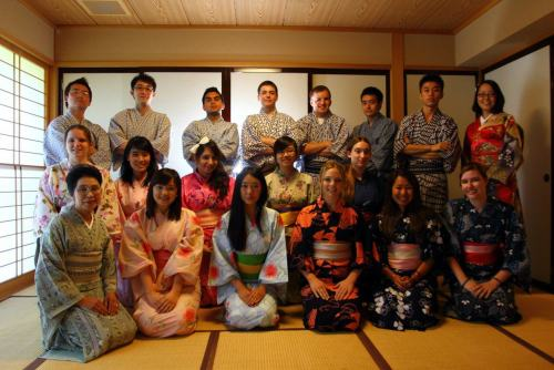 All of us in the summer program wearing yukata.  Photography by Simon Chua  A yukata 「浴衣」 is a casual kimono worn in the summer when attending a matsuri (festival) or hanabi (fireworks display); however, it is not uncommon for a young woman to wear one in public simply as a fashion statement. These were traditional everyday summer-wear in pre-westernized Japan. They are often made of cotton or linen or a blend of the two. Women's yukata are brightly-colored and quite ornate, whereas men's are traditionally navy and have a either simple pattern, or none at all. Prices vary greatly depending on the fabric, texture, and quality. I picked up a cotton/linen blend one at a Daimaru (Japanese equivalent of Bloomingdales) in Osaka that set me back over $300 (and it was one of cheaper ones!), but I've seen them go for as low as $75. Keep in mind though that the
