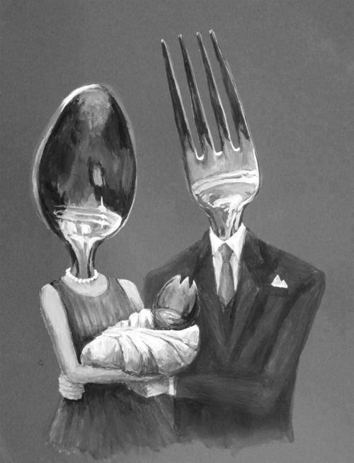 "cuntlery:  tootsienoodles:   The Utensils were a happy family, just like any other. Fork was a loving, caring father, who worked at a bank, and Spoon was his beautiful wife, who owned a small business that allowed her to spend a lot of time with their son, Spork. Every day, when Fork came home from work, he gently clinked against the rim of Spoon's face and asked how her day had been. She would go on and on about how her Aunt Bowl was letting anyone fill her up these days, and telling him he would never guess who they got a phone call from today (it was his brother, Knife), and he would just lean back against the china cabinet, staring at his wife's beautiful reflective surface, and know everything was right in the world.  One day, however, everything was suddenly not right in the world at all. Fork woke up in the silverware drawer and instantly knew something was wrong. He looked over to where Spoon normally slept, confused when he saw nothing but empty space. Or, at least, he thought it was empty. It took him a minute to see the small note left there. Oh no. God, no, he thought. He picked up the note with shaking prongs, and read amid tears: ""Fork,      I'm sorry to leave you like this, but I just couldn't face seeing you. It's too painful. I'm not strong enough to tell you this to your face, and I know that makes me a coward. I know that makes me a horrible utensil. But I can't do this anymore.      Do you remember Cow's party the other night? The night she was so drunk she swore she jumped over the moon? Well, I met someone that night. His name is Dish. And we're running away together.      Please, don't try and find us. Dish makes me happy. He doesn't spend all day staring at me, looking at himself in my reflection.  Goodbye, Fork. -Spoon"" Fork collapsed to the ground, wishing he could tell Spoon that the reason he loved staring at her reflective surface so much, was because of the way her surface magnified everything around her, making it seem so much greater and more beautiful than people could see themselves as normally. Her personality did the same thing. It's what he loved most about her. And what he would miss most of all."