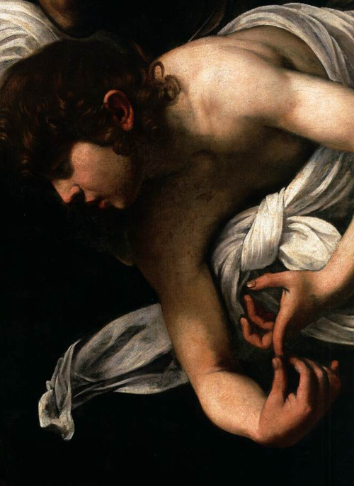 artemisdreaming:  The Inspiration of Saint Matthew detail, 1602 Caravaggio