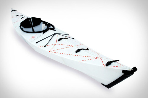 A folding kayak?  Very curious to see what the price will be for this.  So many people want to be able to take their own vessel with them traveling but the size of a kayak usually limits this because of costs.  Plus, at 25 lb., what is normally considered to be a relatively heavy boat for some to drag on their own should have no problem with this! I'm also thinking that adventurers that want to own a kayak but not have to deal with a roof-rack or storage solution will love this as well - Something that can fit in your closet? YES PLEASE!  I'll just stash it in my mini cooper and it'll be ready to go when I want to hit the river. Now if I only had a mini cooper I'd be set.  ORU FOLDING KAYAK Yes, you read that correctly. The Oru Folding Kayak ($TBA) is a completely sea-worthy vessel that packs down into a trunk- and plane-friendly form, complete with a built-in strap. It weighs just 25 pounds, and once you've reached your destination, 5 minutes of assembly will yield a 12-foot long kayak that's ready for whatever you can throw at it. Folding oars not included. (via Uncrate | The Best Gear For Guys)