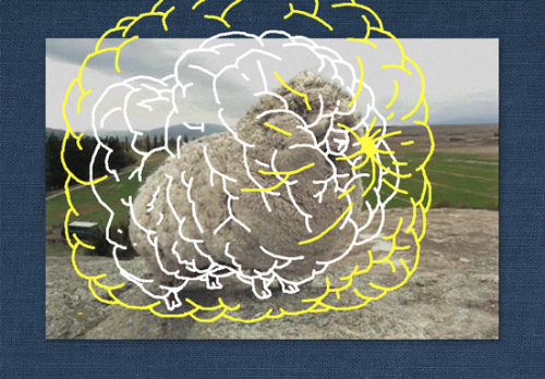 Escaped sheep found with 60 lbs of wool, with artist's conception of same sheep if caught with 190 lbs of wool (white) or 380 lbs of wool (yellow, outline only).