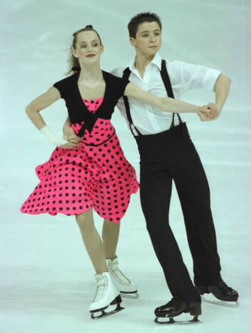 Tessa Virtue and Scott Moir practising their original dance at the 2004 Junior Canadian Nationals. Their music was Tears On My Pillow and Tutti Frutti. Photo by Barry Mittan.
