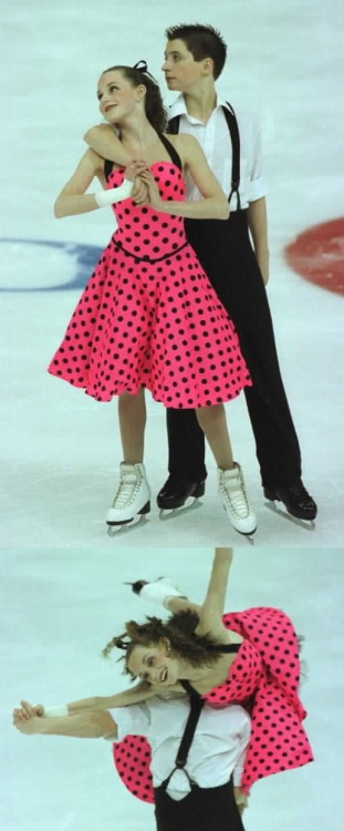 Tessa Virtue and Scott Moir practising their original dance at the 2004 Junior Canadian Nationals. Their music was Tears On My Pillow and Tutti Frutti. Photos by Barry Mittan. 1 and 2.