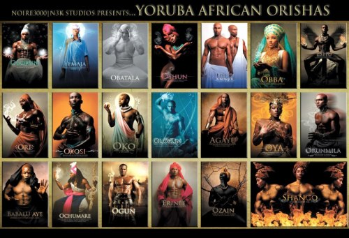 nok-ind:  YORUBA AFRICAN ORISHAS: These are the gods & goddesses of the IFA Religion which originated in Nigeria West Africa. Due to the slave trade the religion spread to Brazil, Cuba, The Caribbean and several other areas around the globe. There are over 400 Orishas however, only 20 key deities are still readily known and worshiped.  An Orisha (also spelled Orisa or Orixa) is a spirit or deity that reflects one of the manifestations of Olodumare (God) in the Yoruba religious system. (Olodumare is also known by various other names including Olorun, Eledumare, Eleda and Olofin-Orun). This religion has found its way throughout the world and is now expressed in practices as varied as Candomblé, Lucumí/Santería, Shango in Trinidad, Anago and Oyotunji, as well as in some aspects of Umbanda, Winti, Obeah, Vodun and a host of others. These varieties or spiritual lineages are practiced throughout areas of Nigeria, the Republic of Benin, Togo, Brazil, Cuba, Dominican Republic, Guyana, Haiti, Jamaica, Puerto Rico, Suriname, Trinidad and Tobago, the United States, Uruguay and Venezuela among others. As interest in Yoruba religion system grows, Orisha communities and lineages can be found in parts of Europe and Asia as well. While estimates may vary, some scholars believe that there could be more than 150 million adherents of this spiritual tradition worldwide.