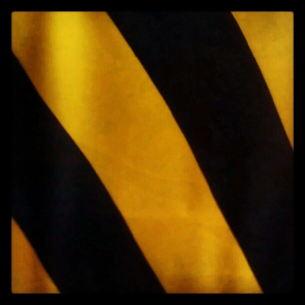 Not done with stripes yet: yellow and black horizontal stretchy stripes for a simple skirt. (Taken with Instagram)