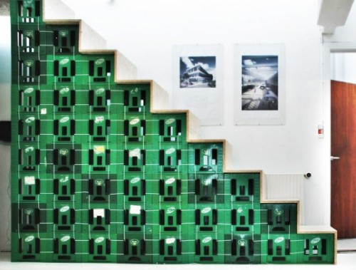 Lendager Arkitekter's Upcycled Staircase is Made From Old Milk Crates via spatula:Inhabitat