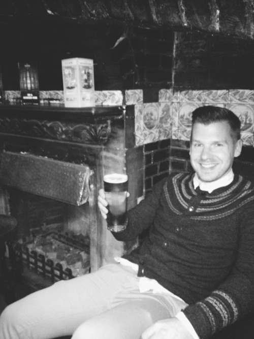 My man with pint in Ye Olde White Hart, Hull.