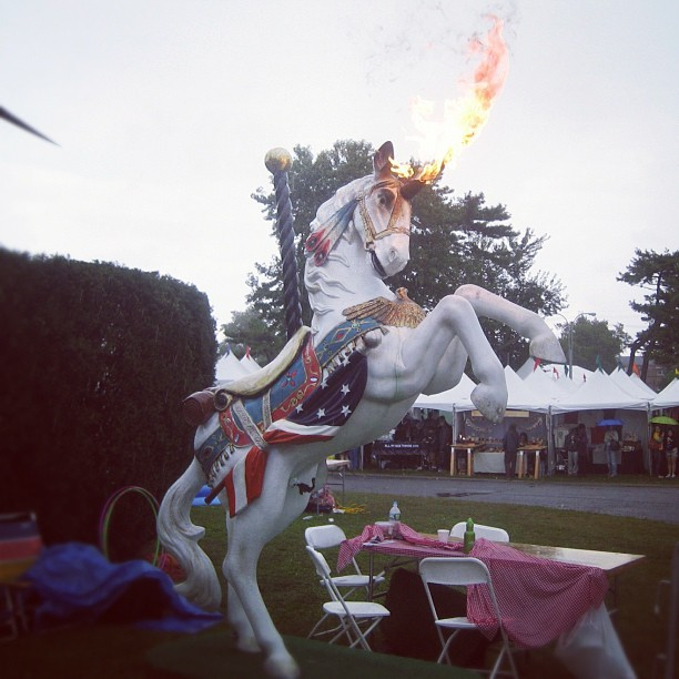 Surprisingly, Katy Perry the Unicorn still flames on, unaffected by the rain. #makerfaire (Taken with Instagram at World Maker Faire)