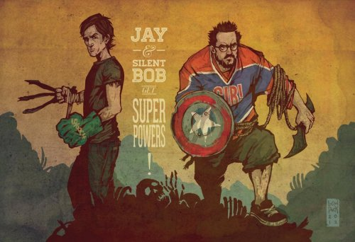 firecomingoutofamonkeyzhead:  Jay and Silent Bob Get Super Powers! by *cheshirecatart For More Stuff like this… Follow Me Here! :)