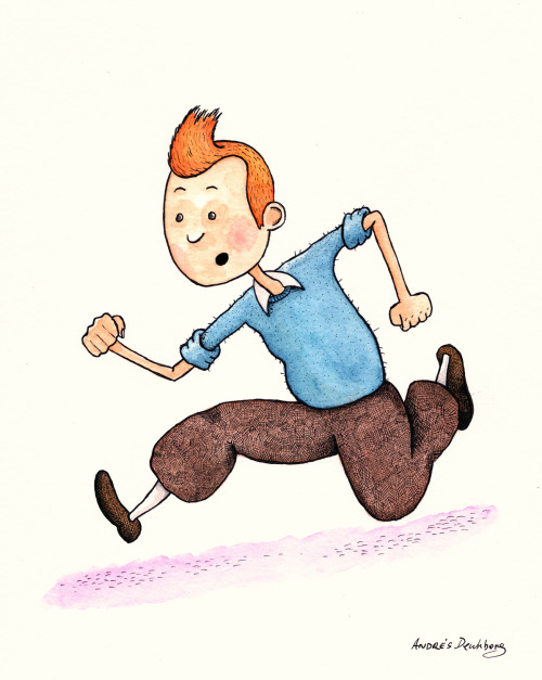 "T is for Tintin My Alphabooks entry for this week is Tintin, the protagonist of the the classic Belgian comic book series, ""The Adventures of Tintin"" written and illustrated by Hergé (Georges Remi)."