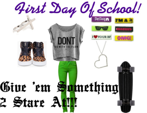 "First Day Of School by kierseygirls featuring skinny jeansGrey t shirt / Peoples Market skinny jeans, $78 / Yves Saint Laurent  shoes / Wet Seal  / Cross ring / Globe Black Bantam 6.5"" x 24"" Complete Cruiser Skateboard"
