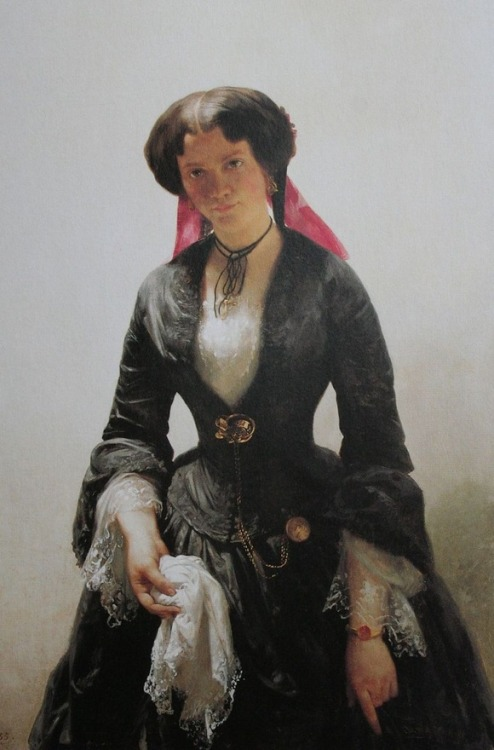 soyouthinkyoucansee:  Bertha Schlatter (detail), the artist's bride, by Rudolf Koller,    That's a striking painting: Rudolf Koller's portrait of his wife from 1889