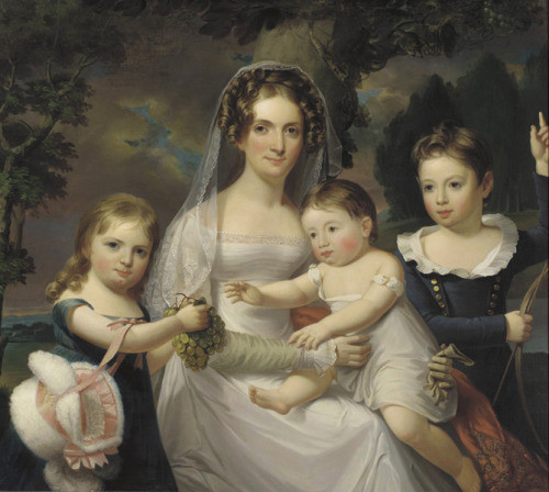 Mrs Elizabeth Wurtz Elder and Her Three Children by Jacob Eichholtz, 1825 US (Philadelphia?), Pennsylvania Academy of the Fine Arts I can't get over how cute that fur bonnet is.  I'm just going to pretend that it's faux fur, even though it didn't exist yet.