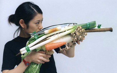 buddhabrot:  gallowhill:  Portraits of Women with Vegetable Weapons by Tsuyoshi Ozawa  omg
