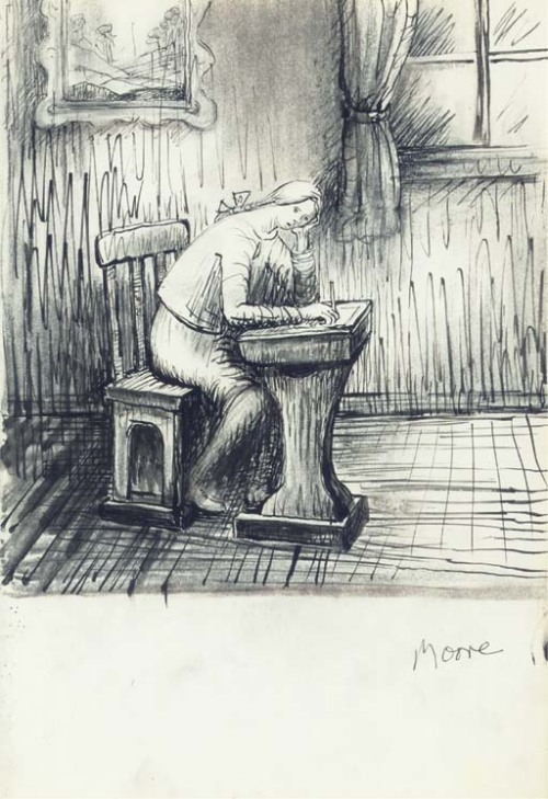 "1973 sketch: ""Mary Doing Homework"" by Henry Moore (1898 - 1986) via poboh"