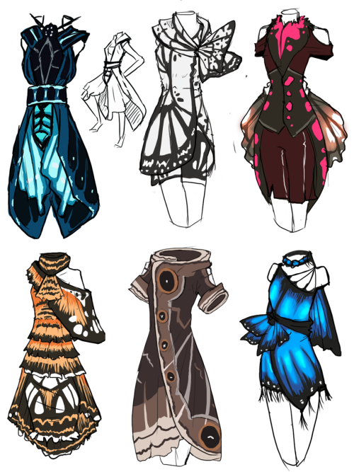 HHHmmmmm~ Dresses based on butterflies i saw at butterfly world.Was gonna make fake pokemon BUT NO. DRESSES.