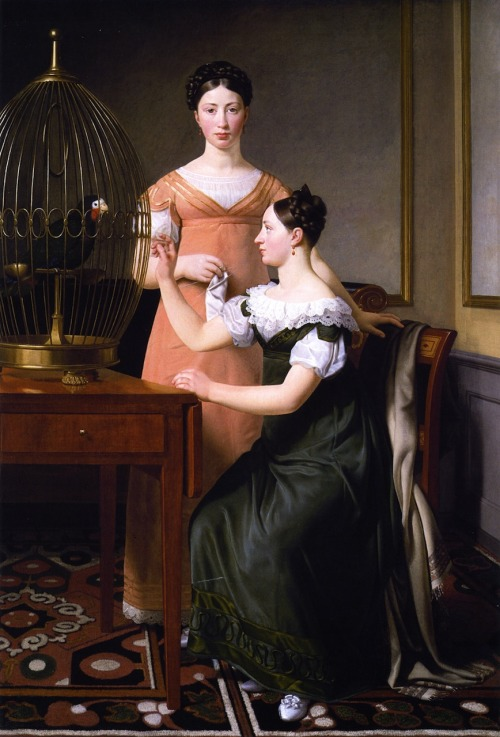 Bella and Hanna, the Eldest Daughters of M L Nathanson by C W Eckersberg, 1820 Denmark (Copenhagen), Statens Museum for Kunst  During the years around 1820, C.W. Eckersberg was busy painting portraits of the affluent citizens of Copenhagen. The artist's greatest patron during his young years, the merchant Mendel Levin Nathanson, commissioned two large family portraits. The painting's two young girlsIn one of the two works he painted Nathanson's two oldest daughters, Bella and Hanna, in a sparingly furnished drawing room with simple panelling and furniture, including a table bearing a parrot's cage. The two girls are shown in uncompromising poses – one strictly frontal, the other strictly from the side – and as they look very much alike, it seems likely that the painter wished to create a variation on a theme; variations like those created by the famous Danish sculptor Bertel Thorvaldsen around the same time.Symbolic readings of the paintingThe parrot opens up the scene to symbolic readings. Due to their ability to imitate human voices parrots were often seen as symbols of good breeding, a suitable allusion for a picture of two young middle-class woman. At the same time, however, the caged bird can also be regarded as a metaphor for the two unmarried women's sheltered situation while waiting – perhaps longing? – to move out into real life.  Parrots were featured in depictions of the Annunciation, since they're foreign and exotic in most of Europe and Israel is an foreign place so parrots seemed fitting (even if they don't actually live there). This led to an association with the Virgin Mary, seen with a parrot in works such as Jan van Eyck's 1434 Virgin and Child with Canon van der Paele. From this comes a broader association with mothers and motherhood. Something to think about.
