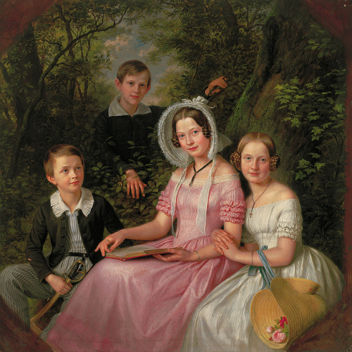 Portrait of the sons and daughters of the jeweller Reiss by Adolf Henning, 1843 Germany (Mannheim)