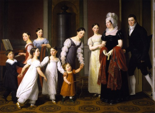 The Nathason Family by C W Eckersberg, 1818 Denmark, Statens Museum for Kunst  The merchant Mendel Levin Nathanson and his wife are greeted by their children after having had an audience with the Queen.  With this family portrait Nathanson marked how the simpler lifestyles and values of the middle classes now set the tone in Denmark. The family parade themselves and their bourgeois The children seem to have been interrupted mid-dance, but in truth this scene does not depict a random moment. The family parade themselves and their bourgeois ways almost as if on stage. The intention Nathanson had another, personal objective: He would have wished to show that he, being Jewish, was fully integrated in society. A leading figure within the integration of Jews in Denmark, he was also a great patron of Danish art and culture. During the years 1812-20 he was Eckersberg's most important patron All movement has been carefully positioned and captured in this painting. The figures have been arranged in a line like in the reliefs of Antiquity, even though there is ample space on the floor. Their gazes catch all diagonals in the space – and your eye, too. Father, mother, and children will all be together in a moment, either prior to or after having been apart. Here, a happy, well-integrated Jewish family – the Nathansons – present themselves as upright Danish citizens. They sponsored Eckersberg. To repay them he captured them in paint and held them up before our gaze. Their eyes scrutinise each other – and us, before we look at them.  Who has power over what we see here? Eckersberg does; he who is known as the father of Danish painting. Father looks at us through all the gazes. Is the stove looking too? We bow to his gaze and authority with a smile. This is what the good family is like; this is what the good father is like until we disobey his demand for calm and order. Henrik Holm, Research Curator On the other hand: The merchant Mendel Levin Nathanson commissioned this family portrait from Eckersberg, and he had a very definite concept in mind. Eckersberg really wanted to show the family engaged in a pleasant private moment, and in one drawing he depicted the children and adults performing a circle dance. But Nathanson wanted a painting with a rather more public quality to it. So here, only the children are occupied with music and dancing. They are interrupted by their parents entering through the door. The occasion is not randomly chosen. The couple have just been in audience with the Queen. The event marked the acme so far of Nathanson's career. Having arrived in Copenhagen as a poor Jewish immigrant at the tender age of 13 he very quickly became a successful businessman and grew into a major patron of Danish culture. With this family picture he wished to demonstrate his new position. Kasper Monrad, Senior Research Curator