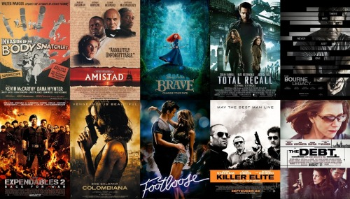 Top 10 Films from August and September, 2012 (Excluding re-watched films) Total watched this month: August: 21 (8 new) September: 13 (5 new) Invasion of the Body Snatchers (1956) 4.5/5 Amistad 4.5/5 Brave 4/5 Total Recall (2012) 3.5/5 The Bourne Legacy 3.5/5 The Expendables 2 3.5/5 Columbiana 3.5/5 Footloose (2012) 3/5 Killer Elite 3/5 The Debt 3/5